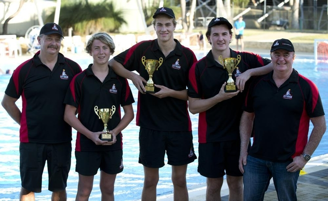 Unprecedented success at the City Beach water polo club. Coach Andrei Kovalenko, 14s captain Byron Vos, 16s Captain Lachlan Vos , 18s Captain Lachlan Pethick and club president Peter Hughes. Picture: Michael O'Brien The West Australian