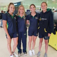 Pip with fellow Australian school girls Tasma Woolley and Skye Nankervis